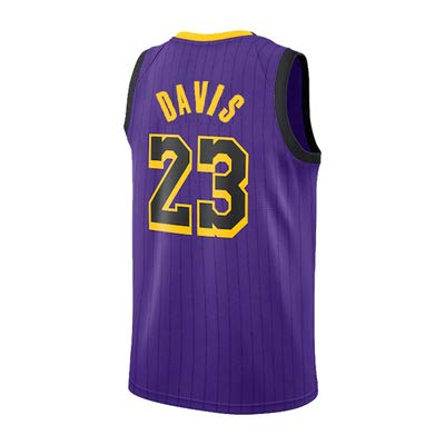 MMRRTIME Lebron James 23 Davis 23 Trikot Los Angeles Lakers Cavaliers Miami Basketball Uniformen Sporthemden Exklusive Limited Edition-purple2-XL -