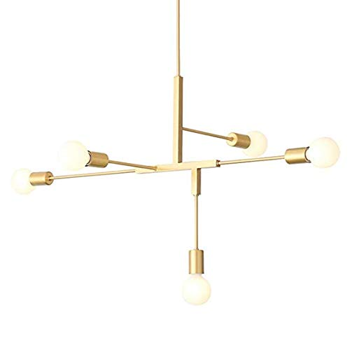 EUJEID Lámparas De Araña De Sputnik, Lámpara Colgante De Oro Moderno Semi-Incrustado De Metal con 5 Luces Simple para La Sala De Estar Dormitorio Restaurante Lámpara De Techo, Gold