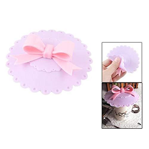 SODIAL(R) Couvercle de tasse avec noeud de papillon en silicone Violet et Rose