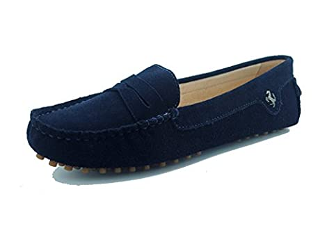 Minitoo Womens Casual Comfortable Dark Blue Genuine Leather Driving outdoor Boat Shoes Loafers Moccasins UK Size 4
