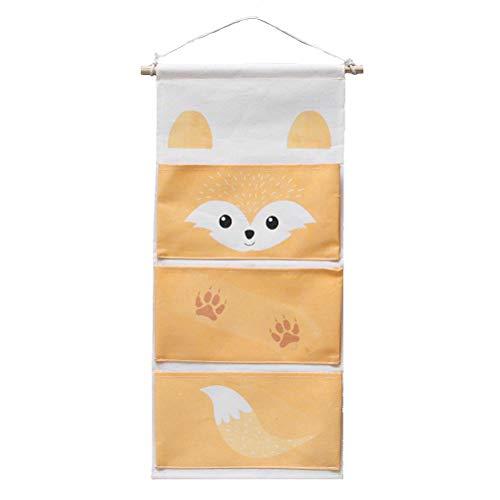 Inwagui Hängeaufbewahrung Kinderzimmer Aufbewahrung Hängeorganizer mit 3 Taschen Stoff Wand Tür Hängende Taschen Schrank Organizer - Fuchs Orange