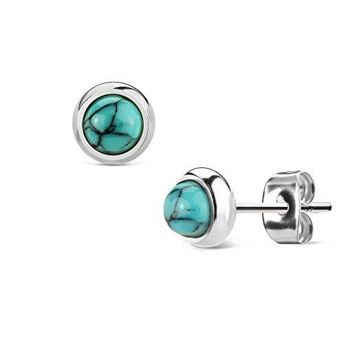Beyoutifulthings Damen 1 Paar Stud Ohr-ring Set Ohr-Stecker Chirurgenstahl Halbedelsteine eingefasst Türkis