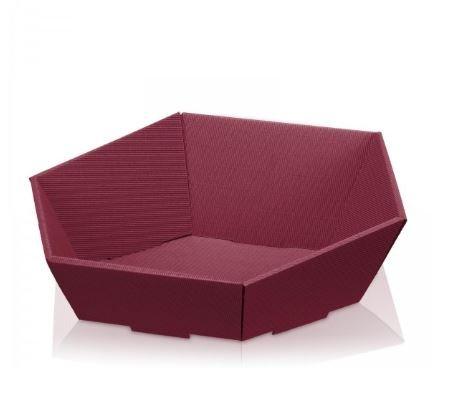 10 x Präsentkorb, Geschenkkorb, Wellpappkorb Swing bordeaux mini