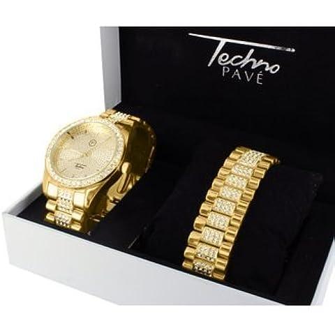 Mens Watch Bracciale in acciaio con chiusura a incastro e diamanti in oro giallo, 14 k