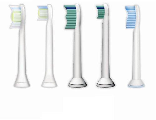 Philips Sonicare Bürstenköpfe HX6004/17 - 5 verschiedene Original Ersatzbürsten für individuelle Bedürfnisse: DiamondClean Standard & Kompakt, ProResults Standard & Kompakt, Sensitive Standard