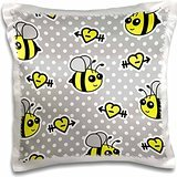 Janna Salak Designs Woodland Creatures - Cute Yellow Bumble Bee Print on Grey and White Polka Dots - 16x16 inch Pillow Case - Bumbles Giardino
