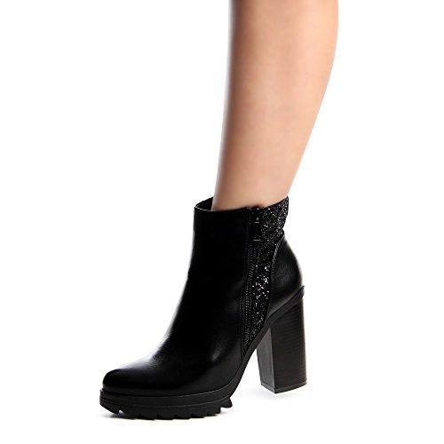 topschuhe24 650 Damen Stiefeletten Plateau Ankle Boots Schwarz