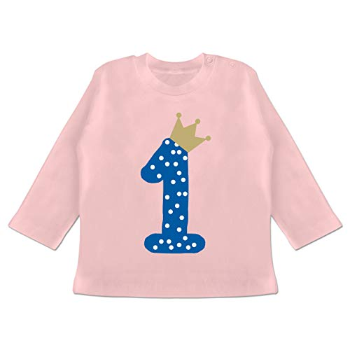 Geburtstag Baby - 1. Geburtstag Krone Junge Erster - 12-18 Monate - Babyrosa - BZ11 - Baby T-Shirt Langarm