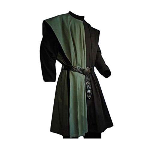 Weste Für Erwachsenen Pirat Kostüm - Herren Mittelalter Tunika Seitliche Öffnung Farbe Spleißen Kittel Renaissance Viktorianisch Wikinger Pirat Kleidung Halloween Cosplay Kostüm (Ohne Gürtel)