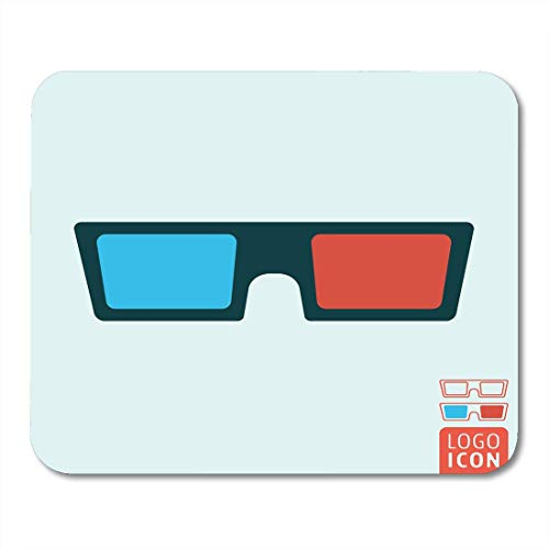 Deglogse Gaming-Mauspad-Matte, Abstract Blue Movie 3D Glasses Cinema Spectacles Symbol Red Stereo Cardboard Mouse Pad,Desktop Computers Mouse Mats,