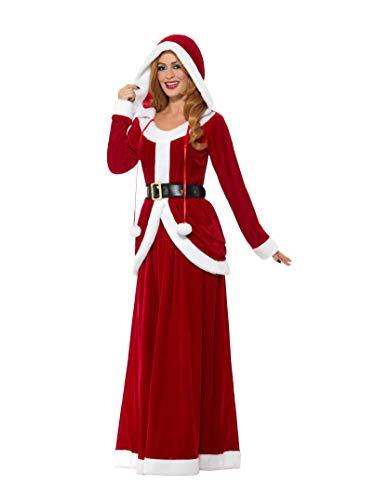 Smiffys, Damen Deluxe Miss Santa Claus Kostüm, Kleid mit Kapuze und Gürtel, Größe: 44-46, 48203 -