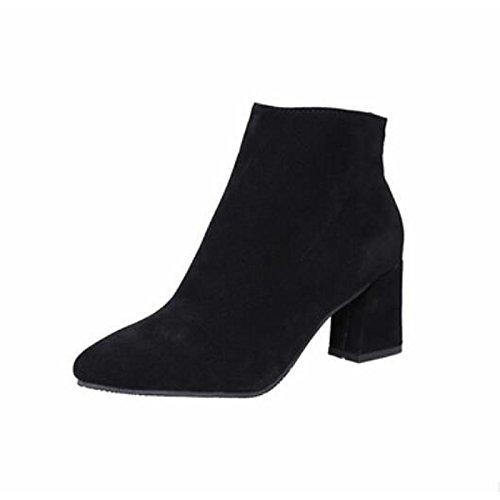 HSXZ Scarpe donna pu inverno Comfort stivali Chunky tallone punta punta chiusa Babbucce/stivaletti di abbigliamento casual leggero vino marrone Nero Grigio Black