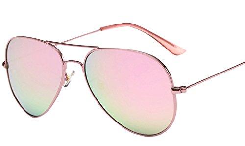 JYR Hombres Mujeres Charmming cl¨¢sico espejo de estilo de gafas de sol polarizadas Cateye Metal - Rosa Rosa Marcos-Lens