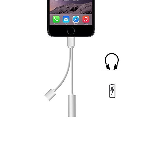 Digital Dukan Lightning to 3.5mm Audio Jack Adapter + Charger Cable (2 in 1) Compatible With iPhone 7 / iPhone 7 Plus | Color May Vary