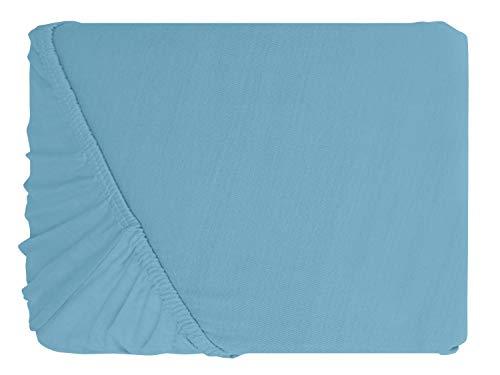 npluseins klassisches Jersey Spannbetttuch – erhältlich in 34 modernen Farben und 6 verschiedenen Größen – 100% Baumwolle, 90-100 x 200 cm, hellblau - 2