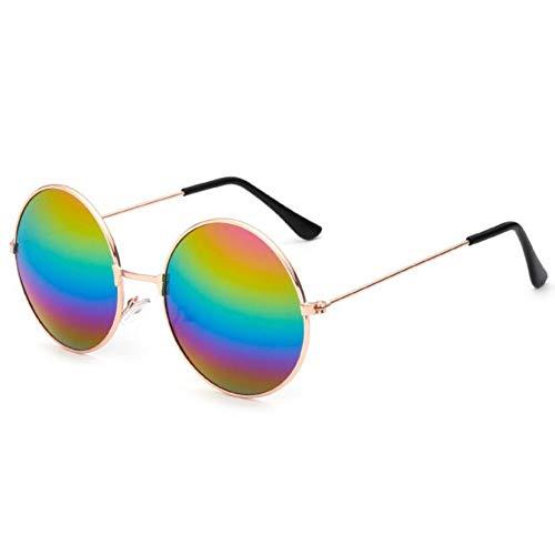 Taiyangcheng Vintage Runde Sonnenbrille Frauen Anti-Reflektierende Linse Sonnenbrille Weiblichen Metallrahmen Kreis Gläser,Goldfarben