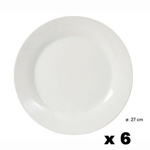 KB8 - Assiettes Plates 27 Porcelaine blanche X 6 MAREVA*