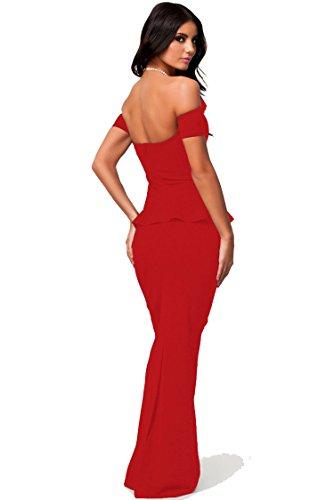 COSIVIA Femme Robe Robes de soirée et de cocktail élégantes longue robe Robe de soirée Maxi-dress de fête robe Robe de sexy manches longues glamour Rouge Rouge