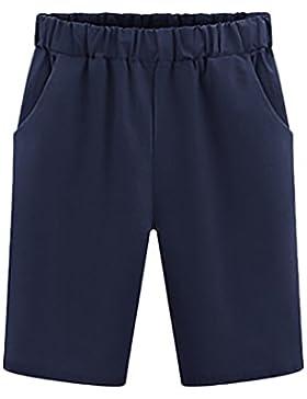 Basic Pantaloncini Donna Taglie Forti Estivi Moda Comode Sciolto Shorts Bermuda Puro Colore Casual