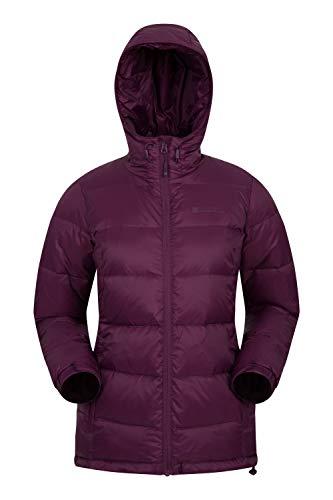 Mountain Warehouse Aoraki Damen-Daunenjacke - wasserfeste, leichte Winter-Regenjacke mit Daunen, warm und gemütlich - für Camping, Reisen, Wandern Dunkellila DE 36 (EU 38)