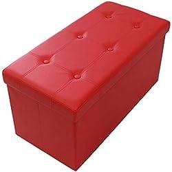 Todeco - Banc Pliant, Ottoman avec Espace de Stockage - Charge maximale: 150 kg - Matériau: Simili-Cuir - Finition piquée et capitonnée, 76 x 38 x 38 cm, Rouge
