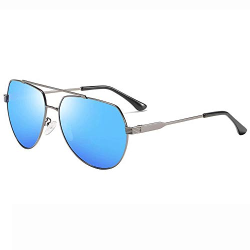 Easy Go Shopping Frauen Metall Aviator Spiegel UV 400 Objektiv Runde Sonnenbrille Für Männer (Farbe : Blau, Größe : Casual Size)