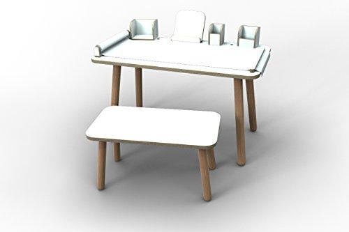 Pure² 'Juego Completo Growing Table Mesa Infantil + Asiento Banco + Todas Las Herramientas Posición–Blanco Revestimiento