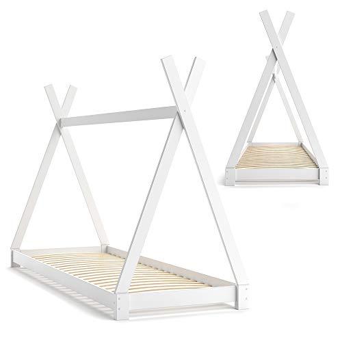 VICCO Kinderbett TIPI Kinderhaus Indianer Zelt Bett Kinder Holz Haus Schlafen Spielbett Hausbett 90×200 (weiß) - 6