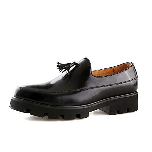 Jingkeke Herren Hochzeit Quaste Kleid Oxfords for Männer Slip-on Walking Loafer Schuhe Synthese Leder Vamp Lug Laufsohle Blockabsatz Ins Auge fallend Mode (Farbe : Schwarz, Größe : 42 EU) -
