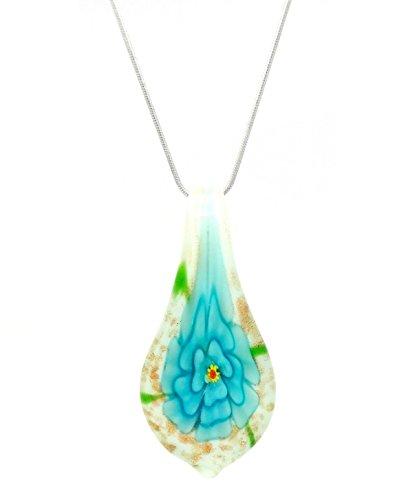 Charakteristische Dekorative Blau Blumen Venezianischen Murano Glas Tropfenform Anhänger/Halskette - Blau Dekorative Glas