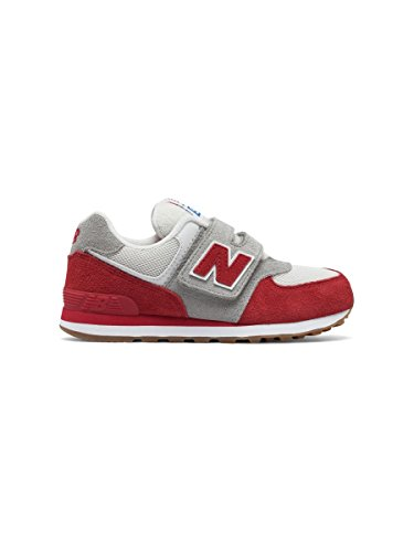 New Balance Kv574czy M Hook and Loop, Scarpe da Ginnastica Basse Unisex – Bambini BIANCO ROSSO