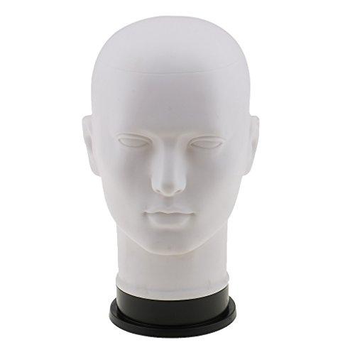 Gazechimp Blanc Homme Mannequin Modèle Tête à Présentoir en PVC Pour Perruque Lunettes Casque Echarpe Chapeau Affichage