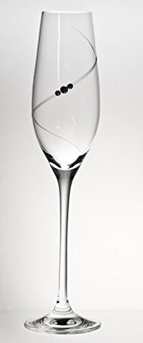 Dranex Flûte à Champagne Cosmic Verre de Cristal Coupé à la Main ornée de Swarovski Elements, Lot de 2