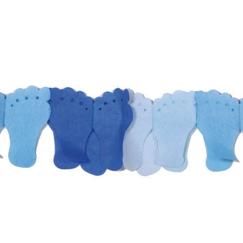 Girlande Füßchen blau aus Seidenpapier, 6 m