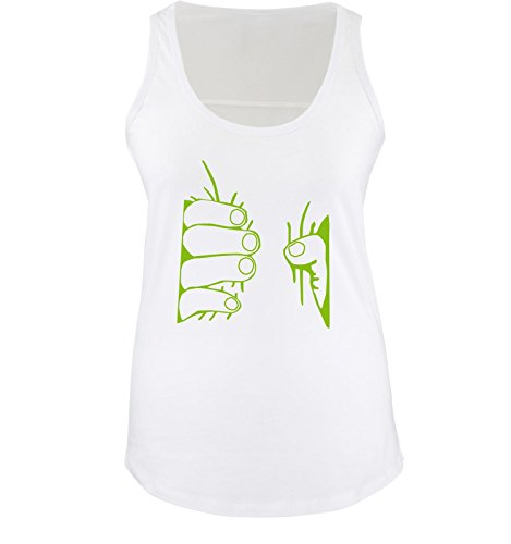 Comedy Shirts - Riesen Hand - Damen Tank Top - Weiss / Grün Gr. - Riesen Tank-top