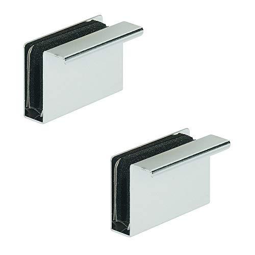 Gedotec Magnet-Druckverschluss Gegenstück mit Möbel-Griff zum Aufklemmen | Gegenplatte für Glasdicke 4-6 mm | Stahl verchromt poliert | 2 Stück - Magnet-Platte mit Ziehgriff für Glastüren & Vitrinen -