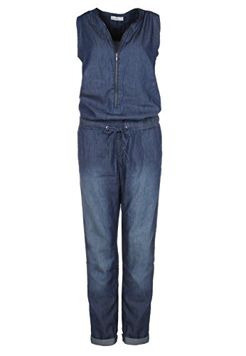 SUBLEVEL Damen Jeans Overall | Bequemer Jumpsuit aus hochwertigem Denim | Used Washed One-Piece dark-blue L