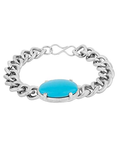 Skycandle SalmanKhan Stainless Steel 8 inches Bracelet with Turquoise Gemstone for Men and Boys