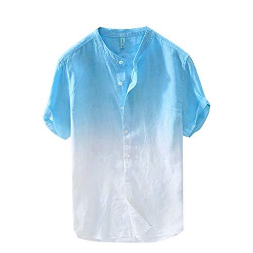 Strungten Hemd Kurzarm Herren Farbverlauf Kurze Ärmel Leinenhemd Hemden Freizeithemd Kurzarm Regular Fit Kragenloses Shirt Casual Langarm-Leinen Shirts Strand-Hemden Polo-Shirt Sportgolf-Tennis