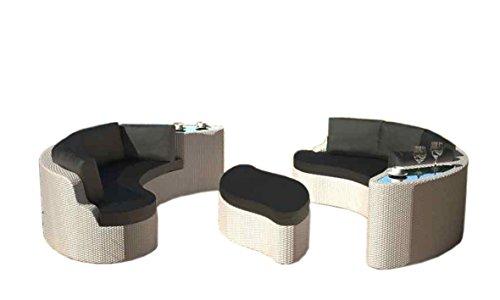 Rattaninsel EMMI weiß Lounge Liegeinsel Sofa Garnitur Sitzecke Sitzgruppe Tisch Sitz Ecke Bank Stuhl Insel Gruppe Esstisch Sitzgruppe Liege Sonnenschutz Segel