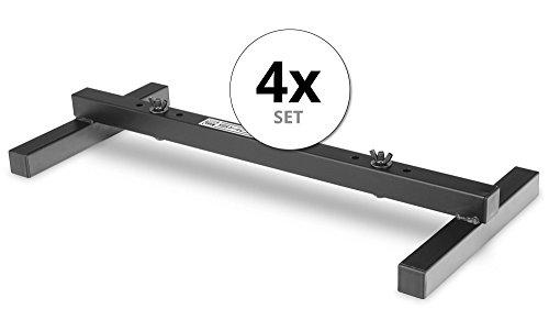 4er Set Showlite FLS-20 PAR Licht Bodenstative (2-fach Bodenstative zum Aufstellen von zwei Scheinwerfern, Grundfläche 55,5 x 25,5 cm, 6 cm hoch, stabile Konstruktion, ineinander stapelbar) Schwarz -