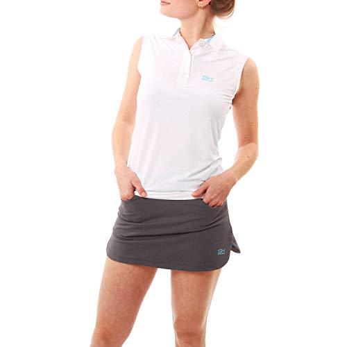 Sportkind Mädchen & Damen Tennis, Golf, Sport ärmelloses Poloshirt, Weiss, Gr. 140 - Golf Mädchen