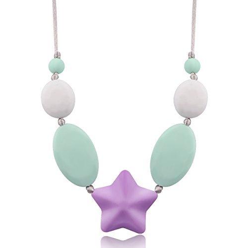Image of megoday silikon - baby kaubaren halskette für weibliche frau mama, teether für kinder zähne schmerzlinderung, die kleinkind - spielzeug und dusche geschenk, bpa - frei.
