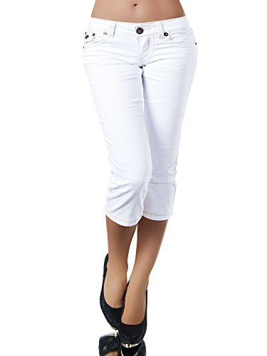 K900 Damen Capri Jeans Hose Damenjeans Caprihose Caprijeans Bermuda Dicke Naht, Farben:Weiß;Größen:44 (XXL)