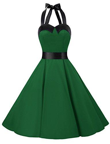 Dressystar DS1957 Robe de Bal Polka Vintage pin-up à 'Audrey Hepburn' 50's 60's Rockabilly Halter,Dos Nu, Vert Militaire et Noir XS