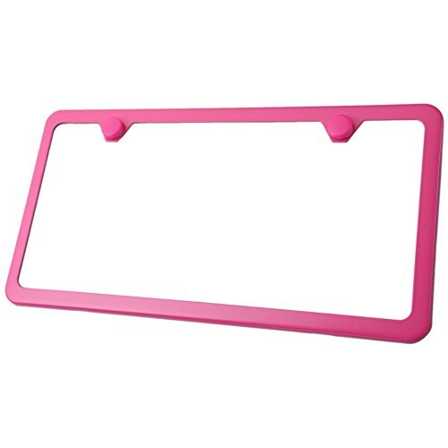 Premium UV Resistant Slim Style Stainless Steel License Plate Frame (2 Holes, Hot Pink) by - Cover Plate Pink License