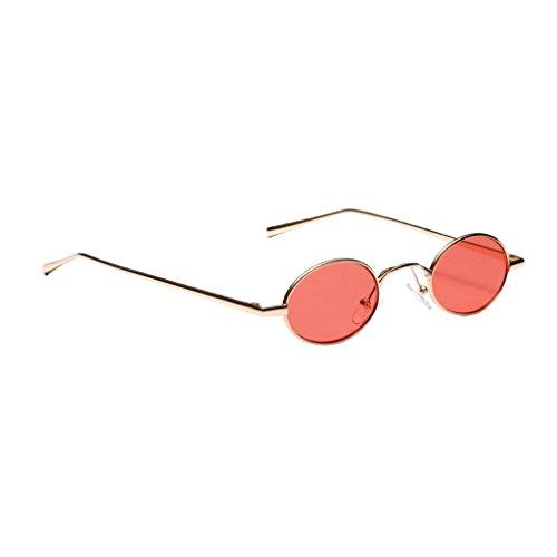 Homyl Männer Frauen Retro Sonnenbrille Gläser Oval Kunststoff Rahmen Outdoor-Brille - rot
