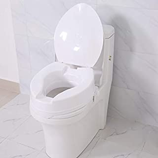 Toilet Seat Raiser, Detachable Raised Elevated Toilet Seat with Lid Bath Safety for Elderly Patients Disability People White