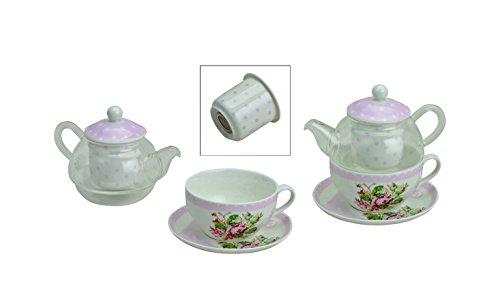 Tetera Taza Tea for one con flor bordado con colador de té