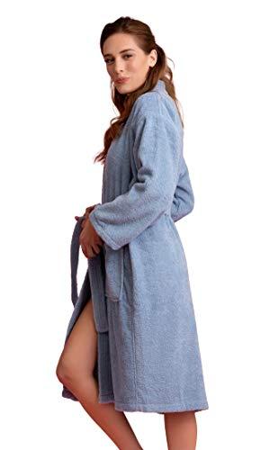 Soft Touch Linen Deluxe Bademantel für Damen, Frottee, Dicke türkische Baumwolle - Blau - Large